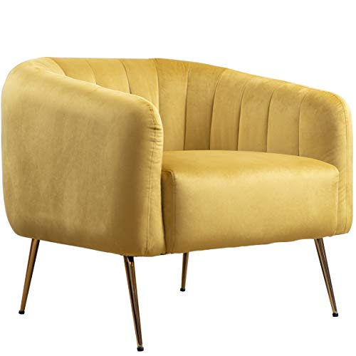 The Magnolia Collection Modern Style Velvet Upholstered Living Room Accent Chair with Gold Legs (Yellow Chair)