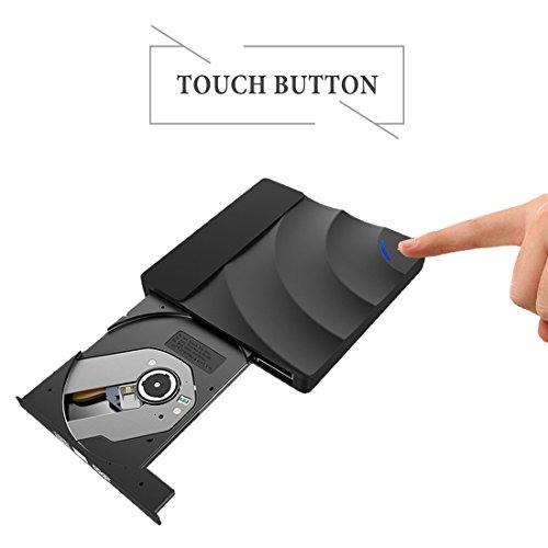 External DVD Drive, Sunreal USB 3.0 External CD DVD Burner Ultra Slim Portable Touch Control CD/DVD Writer Reader Player for Laptop/Desktop Support Window/Mac OS(Black) by Sunreal (Image #2)