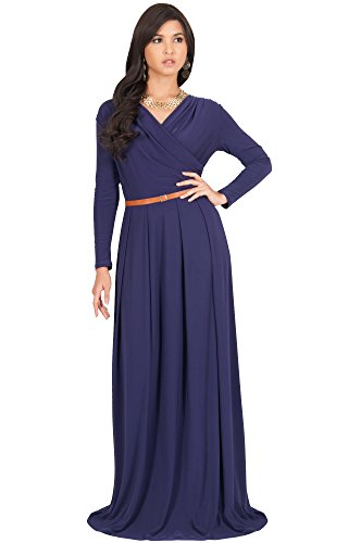 KOH KOH Plus Size Womens Long V-Neck Sleeve Sleeves Fall Formal Flowy Floor Length Evening Casual Day Modest Abaya Muslim Gown Gowns Maxi Dress Dresses, Purple 2 X 18-20 (Dress Blue Powder)