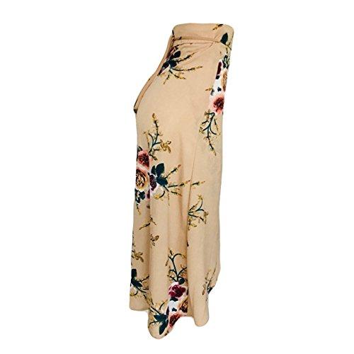 Oudan Mesdames A-Ligne lgante Jupe Femmes Taille Haute Jupe mi-Longue imprim Floral Ceinture Jupe Maxi Beige