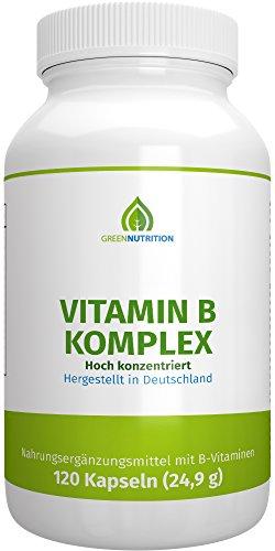 Green Nutrition - Vitamin B Komplex - Vitamin B1, B3, B6, B12, B9 (Folsäure) - Vegan - Vegetarisch - Laktosefrei - Glutenfrei - Aspartamfrei - Genfrei - 120 Kapseln - 1er Pack