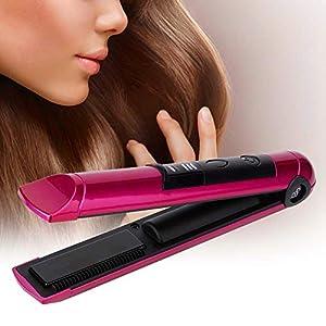 Fer à lisser 2 en 1 Mini USB Rechargeable Electrique Chauffage Rapide Redressage Cheveux Baguettes Fer à Boucler Outil…