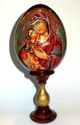 Mary and Jesus Russian Hand Painted Egg ()
