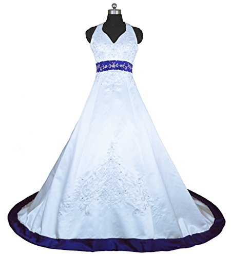 Vantexi Embroidery Satin Halter Wedding Dress Bridal Gown White & Blue 4