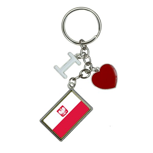 Flag of Poland with Coat of Arms I Heart Love Keychain Key Ring (Poland Arms)