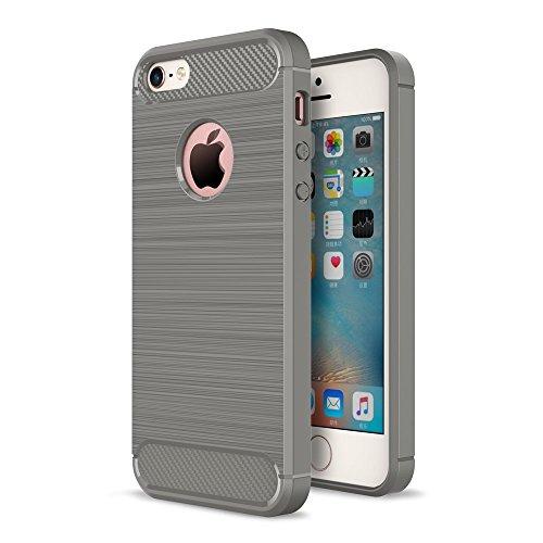 Roi Boutique Apple iPhone 5/5S/SE TPU Case Carbon Fibre Optique Brushed Coque gris