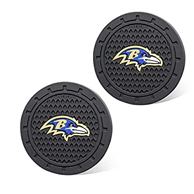 Auto Parts 2.75 Inch NFL Silicone Coasters Durable Anti Slip Silicone Cup Holder Mat,Car Cup Holder Coasters for NFL-American Football Team Car Interior Accessories Set of 2 (Baltimore Ravens): Automotive