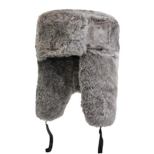 (Yosang Genuine Rabbit fur Russian Ushanka Winter Hat Trapper Bomber w/Ear Flaps Grey, X-Large)