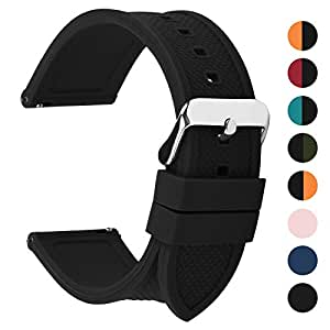 Fullmosa Silicone Rubber 18mm Watch Band,8 Colors for Rainbow Quick Release Watch Strap with Stainless Steel Buckle 18mm 20mm 22mm 24mm,Black