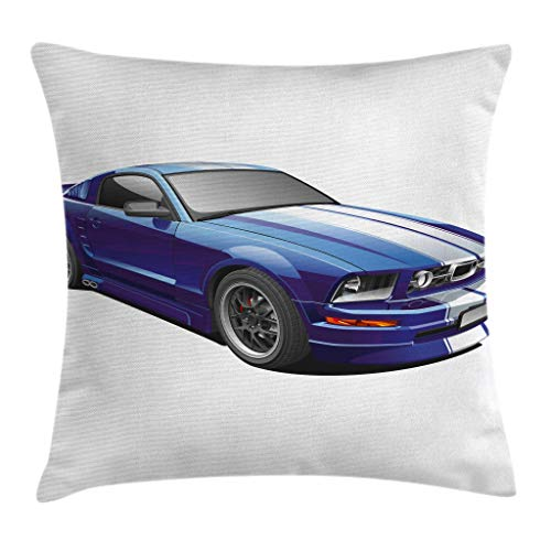 Hart.M Teen Room Throw Pillow Cojin, American Auto Racing Theme Car Sports Competition Speed ​​Winner Boys Kids Graphic, Decorativo Square Accent Pillow Case, 18 X 18, Azul Gris