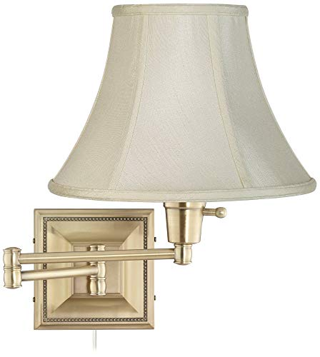 Creme Bell Shade Brass Beaded Plug-in Swing Arm Wall Lamp - Barnes and Ivy
