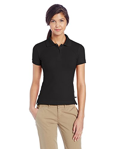 (Lee Uniforms Juniors Stretch Pique Polo, Black, Large)