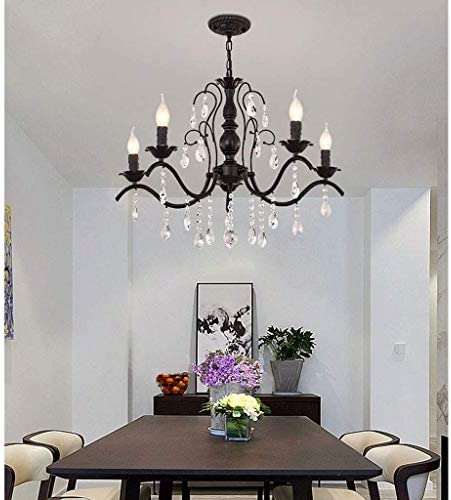 American Crystal Chandelier LED Childrens Bedroom Ceiling Light Modern Wrought Iron Candle Living Room Dining Room Lighting Pendant Light 5 Lamps 65times; 50CM A