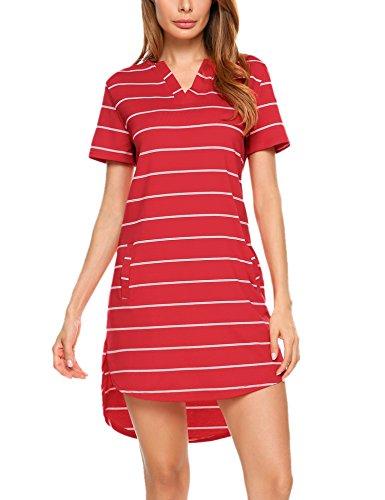 ELESOL Women's Casual Short Sleeves Striped Loose T-Shirt Mini Dress Red M