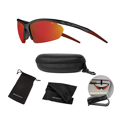 (Polarized UV400 Sport Sunglasses Anti-Fog Ideal for Driving or Sports Activity (Red, Mirror)