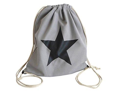 Coole Gym Bag ~ Stern Design ~ hellgrau Turnbeutel Stoffbeutel Rucksack