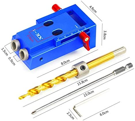 Claral Mini Style Pocket Hole Jig Kit System For Wood Working & Joinery And Step Drill Bit & Accessories Wood Work Tool Claral (Color : SET 3) 11inch Clamp