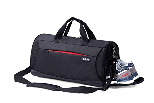 AiiGoo Sports Gym Bag Waterproof with Shoes Compartment Large Capacity Travel Duffel Bag (Black)