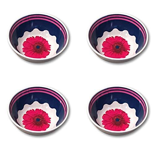 Bamboo Plates, Salad Plates & Bowl Sets - Summer Designs - Gerber Daisy, Rose or Sunflower (4, Gerber Daisy Bowls)