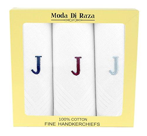 Personalized Hankies - Moda Di Raza - Men's Cotton Monogrammed Handkerchiefs Initial Letter Hanky - J