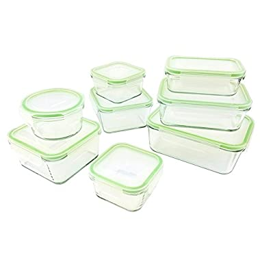 Kinetic GoGREEN Glassworks Series 16 Piece Oven Safe Glass Food Storage Container Set with Lids (8 Containers and 8 Lids) 01351