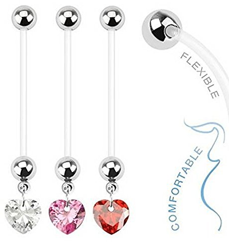 RED Ruby Heart Dangle Pregnancy Maternity Flexible Belly Button Naval Retainer Ring. UV, Nickel and Allergy Free -
