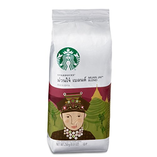 Starbucks Whole Bean- Muan Jai Blend 8.8 Ounce/250g,A bold blend of Arabica coffee from Thailand with lingering, earthy spiciness in the finish