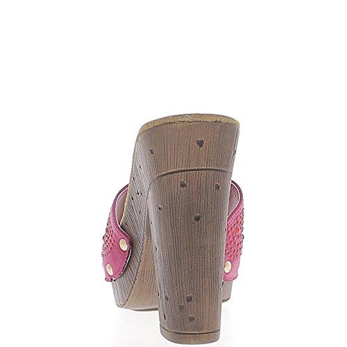 Sabots fuchsias à talons carrés de 11,5cm et plateforme épaisse ouverts avec strass
