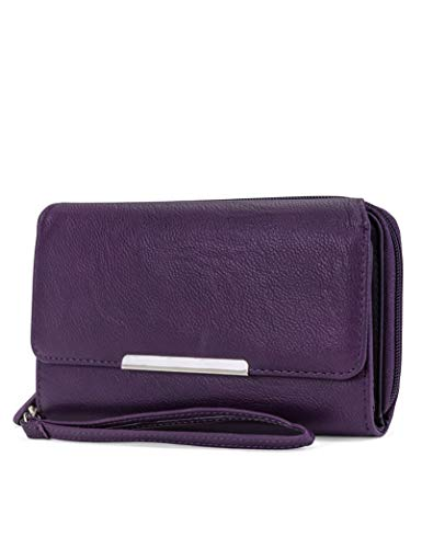MUNDI Big Fat Womens RFID Blocking Wallet Clutch Organizer Removable Wristlet ((Purple))