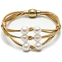 Yunhan Handmade Multiple Strand White Pearl Bracelet on Silvery Leather Cord for Women