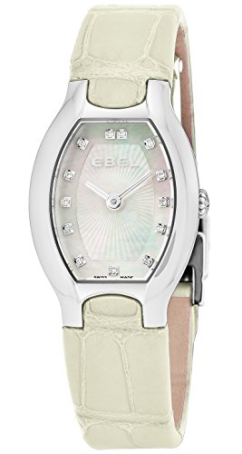 Ebel Beluga Tonneau Womens Mother-of-Pearl Face Diamond Off-White Leather Strap Swiss Quartz Watch 1216207