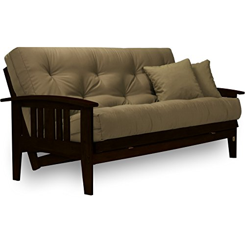 Westfield Complete Futon Set - Espresso Finish (Warm Black) - Full or Queen Size, Mission Style Wood Futon Frame with Mattress Included (Twill Khaki), More Mattress Colors Available
