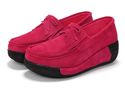 Sabe , Mocassins pour femme - Rouge - rose,