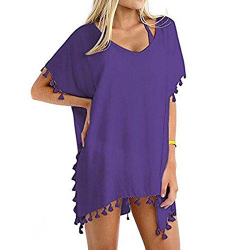 YUANLINGWEI Baño Funda Tamaño Violeta Mujer De Túnica Un Neck Borla Vestido Verano Vestidos Trajes Amarillo De Beach V Sólida De qY1qwprR