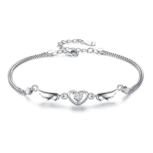 EleQueen 925 Sterling Silver Clear Cubic Zirconia Love Heart Angel Wing Double Strand Chain Bracelet