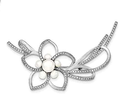 13685d84a Sterling Silver Rhodium-plated 4-7mm White Freshwater Cultured Pearl Cubic  Zirconia Flower Pin