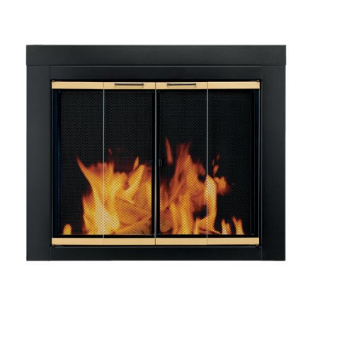 Pleasant Hearth AR-1020 Arrington Fireplace Glass Door, Black, Small (Fireplace Cover Glass Mesh)