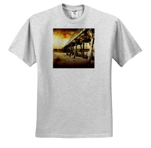 Perkins Designs Cities And Structures - Pacific Pier grunge photograph of Hermosa Beach, California pier on Pacific Ocean - T-Shirts - Adult Birch-Gray-T-Shirt 2XL (ts_19247_22) ()