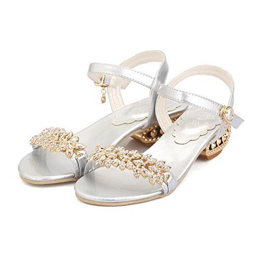 Allhqfashion Para Mujer Open-toe Low-heels Soft Material Solid Hebilla Sandalias Plata