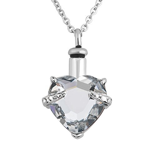 - 12 Colors Heart Crystal Cremation URN Necklace for Ashes Jewelry Memorial Keepsake Pendant