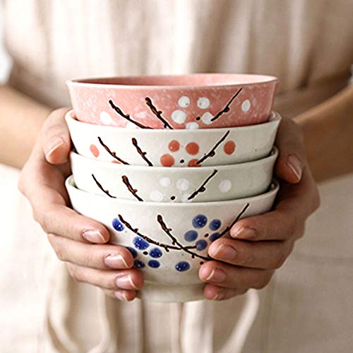 Asian Rice Bowls Set of 4 Color - Japanese Style Hand-painted Floral Plum Ceramic Bowls For Dessert Snack Cereal Soup and Rice ()