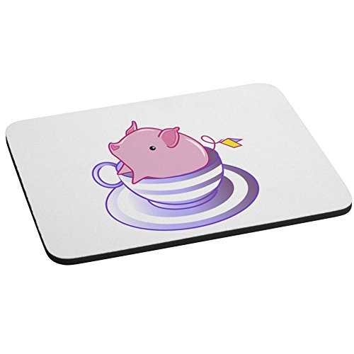 (Teacup Pig In A Striped Purple Teacup Cute And Adorable Computer Mouse Pad)
