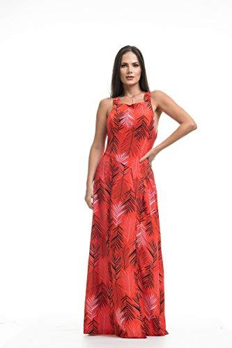 Vestido Clara Arruda Longo Costa Detalhe 50462-44 - Mix Vermelho