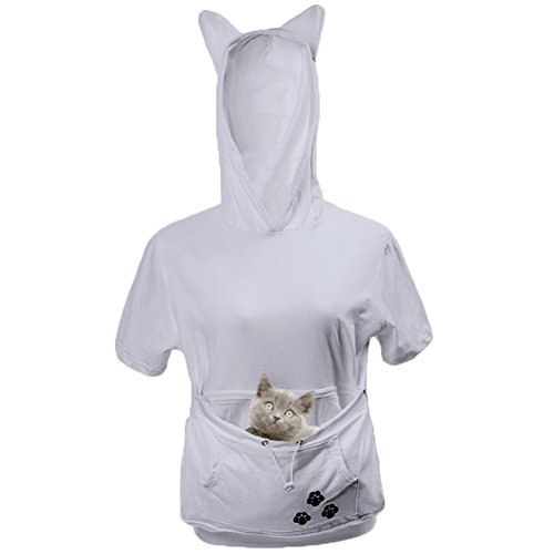 Unisex Cat Ear Big Kangaroo Pocket Short Sleeve Hoodie Pet Cat Dog Holder Carrier Sweatshirt (M, Grey)