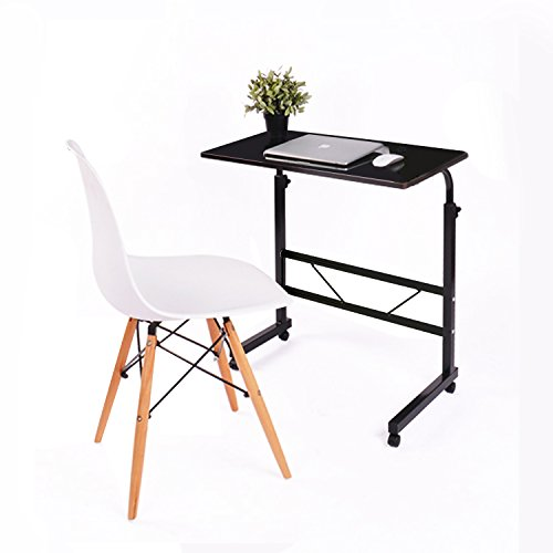 Jerry & Maggie - Adjustable Height Desk Laptop Movable Bedside Desk Table Lapdesk With 4 Wheels Flexible Wooden Stand Desk Cart Tray Side Table (Jet Black) by Jerry & Maggie