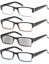 GAMMA RAY Readers 4 Pack Spring Hinges Rectangular Reading Glasses Includes Sun Readers for Men and Women - Choose Your Magnification