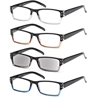GAMMA RAY 4pk Spring Hinges Rectangular Reading Glasses w Sun Readers