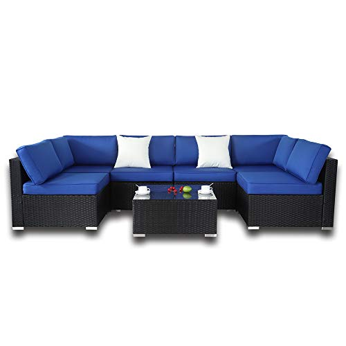 Outdoor Black Rattan Wicker Sofa Set Garden Patio Furniture Cushioned Sectional Conversation Sets-Easy Assembled(Royal Blue Cushions, 7 Piece)