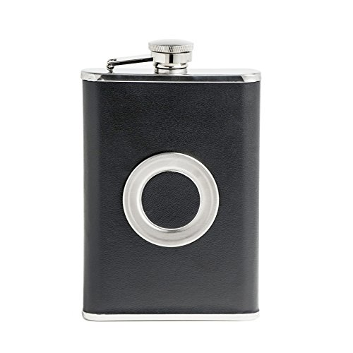 New-Scale-8oz-Black-PU-Leather-flask-with-Telescopic-Cup-Insert-in-Black-Gift-Box-Set-Premium-with-Funnel-and-2-Cups-Stainless-Steel-and-100-Leak-Proof-for-Discrete-Liquor-Shot-Drinking