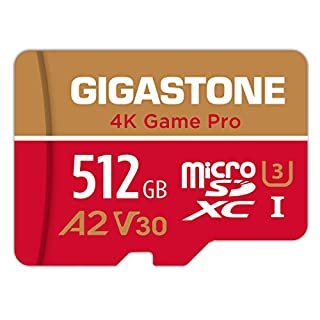 Gigastone 512GB Micro SD Card, 4K Game Pro, Nintendo Switch Compatible, A2 Run App, 4K Video Recording, R/W up to 100/80MB/s, Micro SDXC UHS-I A2 V30 Class 10